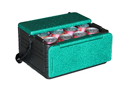 Flip-Box Mini Iceless Insulation Box Green - Fits 12 Cans, Collapsible, Lightweight, Portable – Great for a Lunch Box, Parties, Picnics, Camping, Beach, Tailgating, Fishing, Hunting, Boating and More!