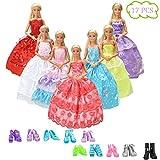 WENTS Kleidung zubehör Set 7 Stück Puppenkleidung Partei-Kleid Outfits und 10 Paar Schuhe...
