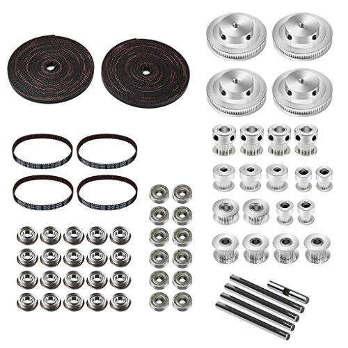 Docooler 3D Printer Timing Belt Kit GT2 Timing Belt Drive Kit 625 F695 Bearing Pulley Wheel Idler Shaft Compatible with Voron V2.4 3D Printer Motion Parts
