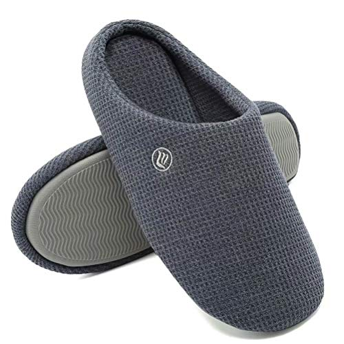 Merence Damen Herren Memory Foam Hausschuhe Komfort Gestrickte Baumwollmischung Geschlossene Zehen rutschfeste Home Schuhe Indoor Outdoor-E320WMT03-blue-44.45A