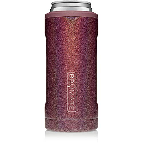 BrüMate Hopsulator Slim Double-walled Stainless Steel Insulated Can Cooler for 12 Oz Slim Cans (Glitter Merlot)