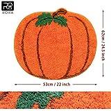 RORA Halloween Bath Rug for Kids Orange Pumpkin Shape Cartoon Bathroom Mat Plush Water Absorbent Bathtub...