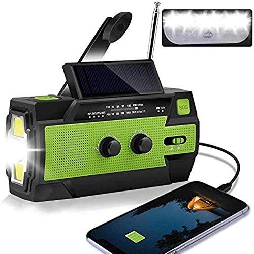 AONCO Solar Hand Crank Portable Radio, NOAA Weather Radio for Household and Outdoor Emergency with AM/FM/WB,3 Gear LED Flashlight, Reading Lamp, 4000mAh Power Bank USB Charger and SOS