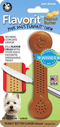 Pet Qwerks Flavorit Peanut Butter Flavor Infused Nylon Chew- Fillable Porous Surface for Spreads, Durable Tough Toys for Aggressive Chewers | Made in USA with FDA Compliant Nylon - for Small Dogs