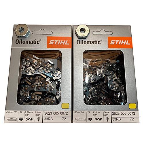 Stihl 33RS 72 eslabones de transmisión, Calibre 0,050 0,95 cm, rápido Super Cadena de Motosierra 3623 005 0072, Paquete de 2, 2 Tuercas para Cubierta de Barra 0000 955 0801