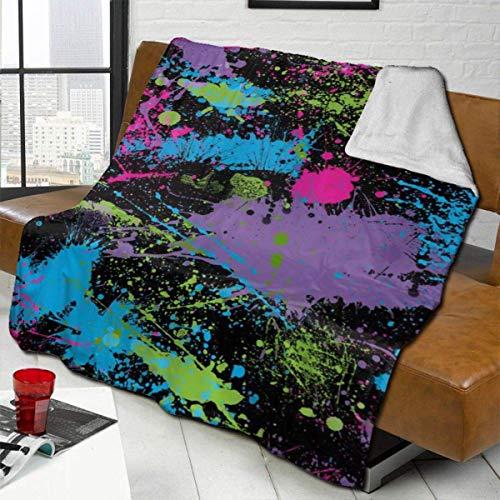 Ahdyr Throw Blankets Glow in Dark Paint Splatter Kunst Wende Sherpa Flanell Decke Weiche Fuzzy Plüsch Fleece Mikrofaser Decken für Couch Bed Sofa