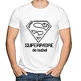 Camiseta Personalizada Superpadre Blanca en Todas Las Tallas - Regalo para el Día del Padre, Navidad o su cumpleaños
