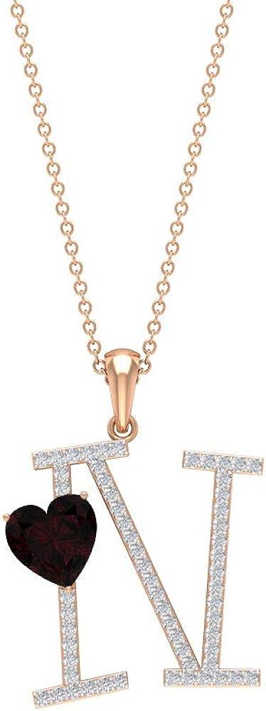 N Necklace Initial, 1/2 CT Moissanite Initial Pendant, 7 MM Garnet Pendant Necklace