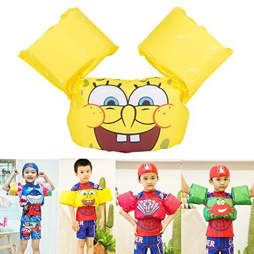 Picter Swim Vest Arm Floaties,Baby Float Swim Trainer Baby Floats for Pool Swim Floaties Arm Bands Float Vest Trainer (Spongebob)