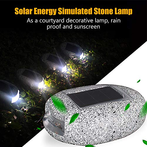 4 Stücke Solar Stein Solarlampe Bodenleuchte Cobble Steinlampe LED Gartenleuchte wasserdicht IP65, weiß lichtfarbe, Harz Stein, 6.5×8.5cm, 4in1 (Solar Steine)