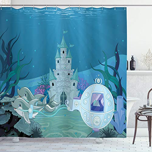ABAKUHAUS Ozean Duschvorhang, Märchen Mermaid Schloss, Moderner Digitaldruck mit 12 Haken auf Stoff Wasser & Bakterie Resistent, 175 x 200 cm, Türkis Hellblau Blaugrün