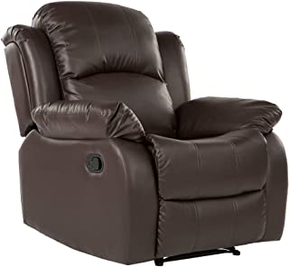 Divano Roma Furniture Classic Bonded Leather Recliner Chair, Brown