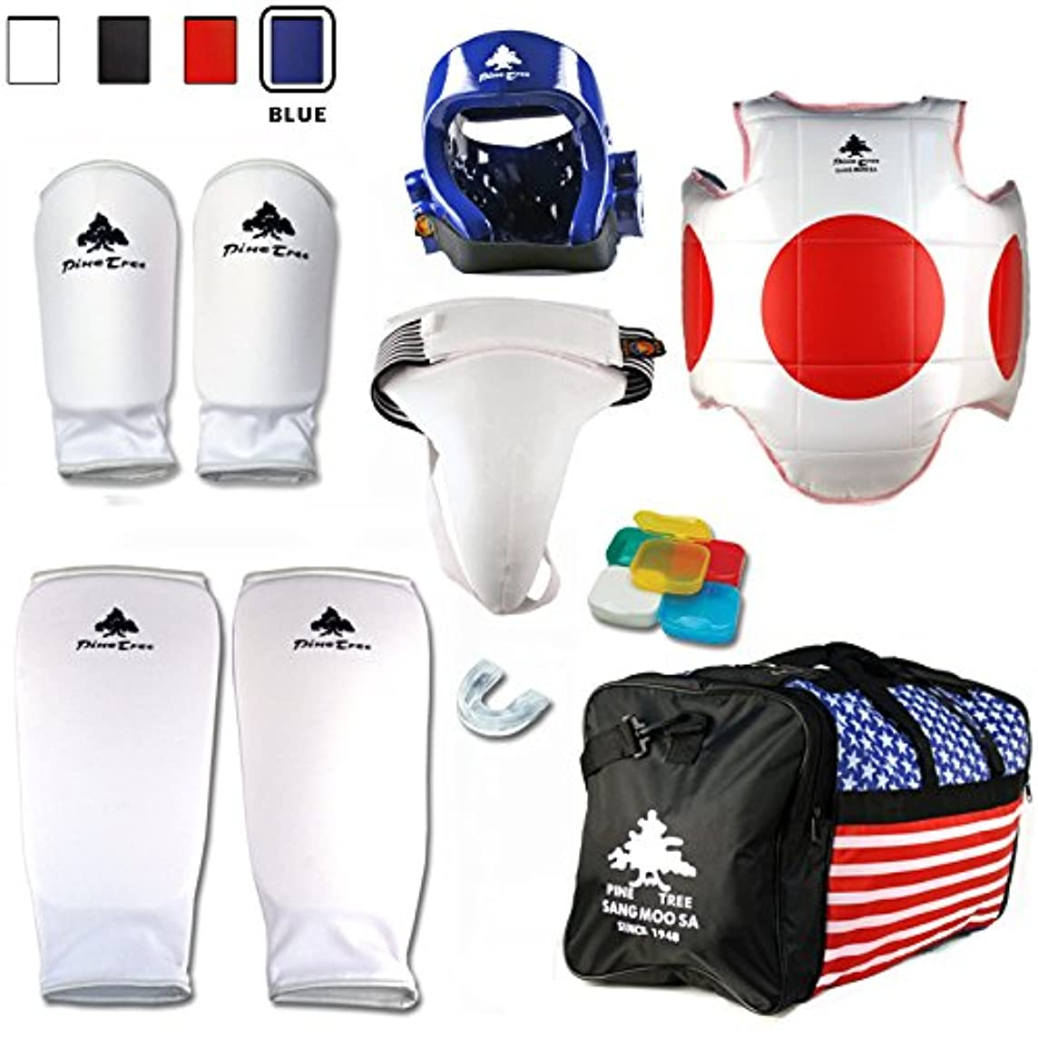Pine Tree Complete Cloth Martial Arts Sparring Gear Set with Bag, Forearm/Shin, Groin