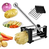French Fry Cutter, Wosweet Stainless Steel Homemade Professional Potato Chipper Cutter for Easy Slicer with 2 Blades, Great for Potatoes, Carrots, Cucumbers