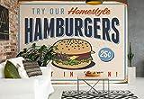 Wallsticker Warehouse Retro Plakat Hamburger Fototapete - Tapete - Fotomural - Mural Wandbild - (3185WM) - L - 152.5cm x 104cm - VLIES (EasyInstall) - 1 Piece