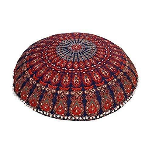 Rajasthaniartdecor - Federa rotonda per cuscino con mandala, motivo mandala meditetion, pavone, con piume, 81,3 cm, colore: lavanda