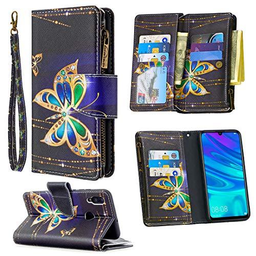 Nadoli Reißverschluss Brieftasche Etui für Huawei Y6 2019,Bunt 9 Karte Halter Pu Leder Diamant Schmetterling Entwurf Lanyard Magnetisch Standfunktion Flip Schutzhülle