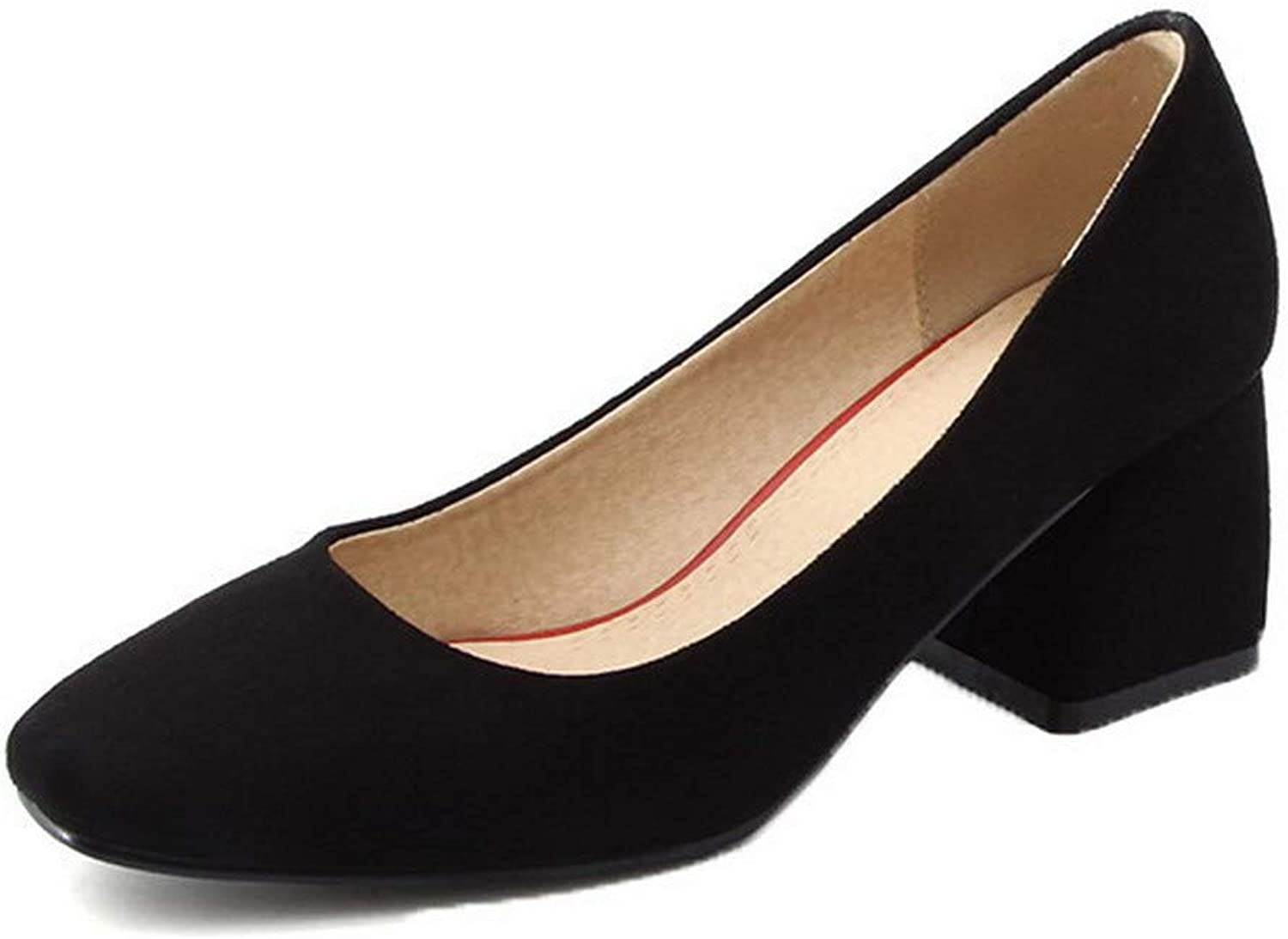 AllhqFashion Women's Solid Square Closed Toe Pull-On Pumps-shoes, FBUDD011530