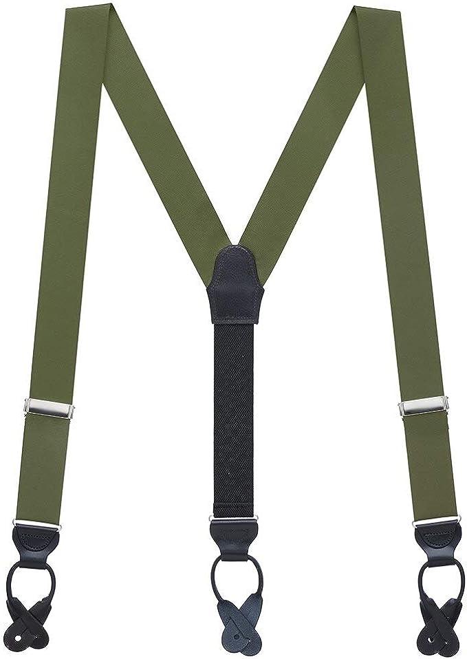 Men's Vintage Style Suspenders Braces SuspenderStore Mens Grosgrain Classic Colors Button Suspenders (2 Sizes Array of Beautiful Colors)  AT vintagedancer.com