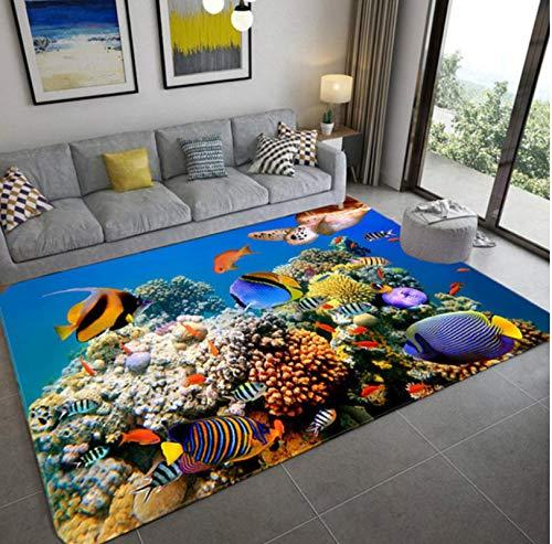 Alfombra del Dormitorio De Los Niños, Coloridas Alfombras Impresas En 3D De Peces De Coral Submarinos, Alfombra Antideslizante del Pasillo De La Cocina 120x160cm