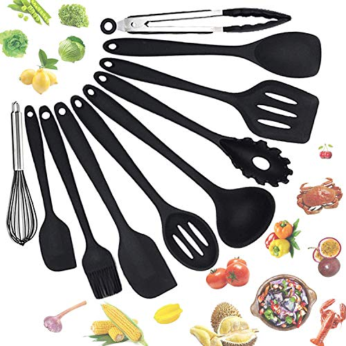 SlowTon Kitchen Cooking Utensils Set, 10 pcs Silicone Heat Resistant Kitchen Tools Kit with Nonstick Cookware Spoons Holder Spatulas Turner Tongs Gadgets Whisk Kitchen Appliances for Cooking