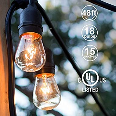 48ft Outdoor String Lights Commercial Great Weatherproof Strand 18 Dimmable Edison Vintage Bulbs 15 Hanging Sockets, UL Listed Heavy-Duty Decorative Café Patio Lights Bistro Garden Wedding Malls