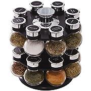 Kamenstein 5123721 Ellington 16-Jar Revolving Countertop Spice Rack Organizer with Free Spice Refills for 5 Years