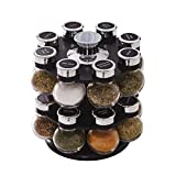 Kamenstein 5123721 Ellington 16-Jar Revolving Countertop Spice Rack Organizer with Free Spice Refills for 5 Years,Clear