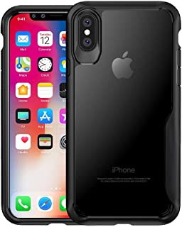 Wdfuony Clear Compatible iPhone Xs case Black Protective Clear Cover Soft TPU Bumper Transparent Hard PC Back Case