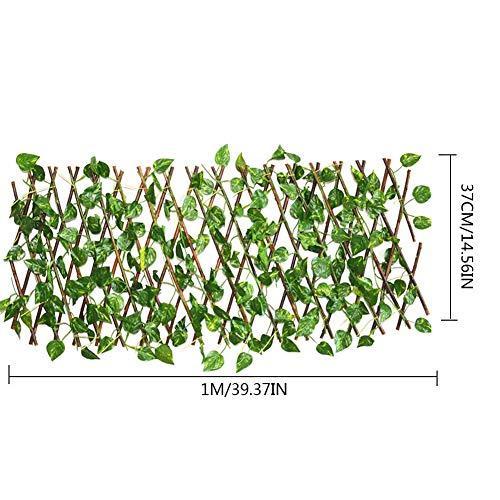Seayahy Pantalla de Valla de privacidad de Hiedra Artificial, 40cm / 15.75in Valla de setos Artificiales y decoración de Hoja de Vid de Hiedra Falsa para decoración al Aire Libre, jardín