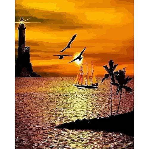 Xiaobaziszyh schilderen op cijfers voor volwassenen, zonsopgang, panoramablik op zee, boot, 16 × 20 cm, met kwasten en pigmenten van acryl Geen frame
