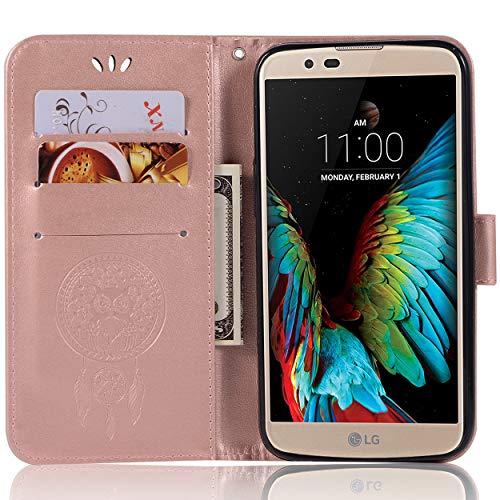 Capa de couro para LG K10 Pro, capa carteira LG K10 Pro, capa flip floral em couro PU com suporte para cartão de crédito para LG K10 Pro de 5,7 polegadas