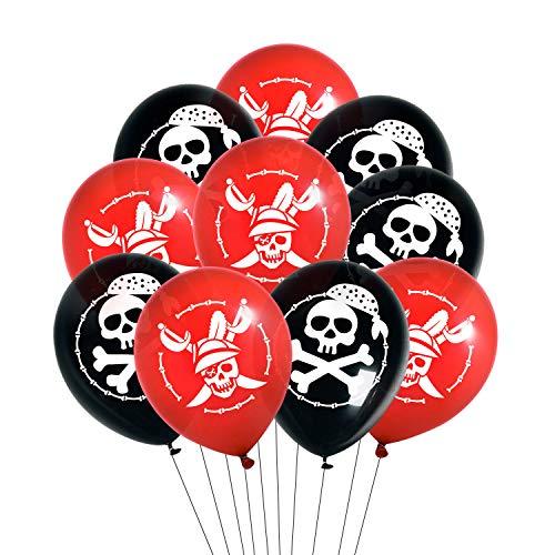 Oblique Unique® Piraten Luftballon Set mit Totenkopf Ballons für Kinder Geburtstag Motto Party Feier Spielen Schwarz Rot Weiß