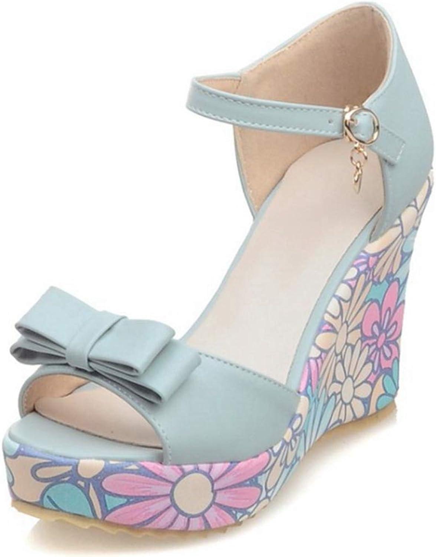 GIY Women's Wedge Sandals Bowknot Open Toe Platform shoes Wedding Party Dress High Heels Sandals