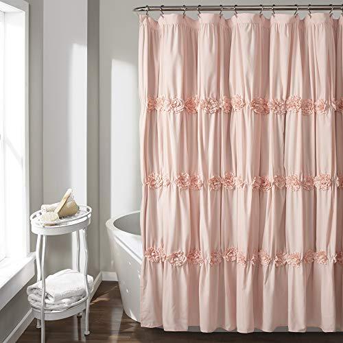 """Lush Decor Darla Ruched Floral Bathroom Shower Curtain, 72"""" x 72"""", Blush"""