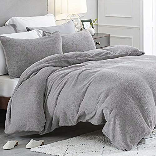 Bedsure Fleece Duvet Cover Double - Teddy Fleece Bedding 3 pcs with Zipper Closure, Silver Grey, 200x200cm