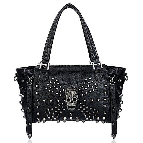 UTO Women Skull Bag Rivet Studded Handbag PU Leather Purse Satchel Shoulder Bags Black A 381