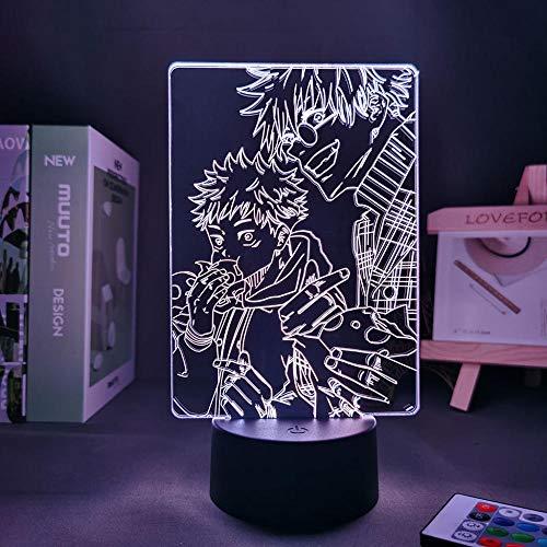 Anime Jujutsu Kaisen Luz Satoru Gojo Regalo de vacaciones Niños Decoración de la habitación Lámpara de Mesa 3D Satoru Gojo-Verde Claro _Amarillo_16 Color con Remote_Francia