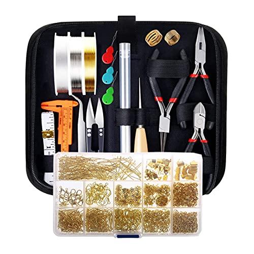 SM SunniMix Kit para hacer joyas, suministros para hacer joyas con herramientas de alicates para joyas, fornituras para joyas y alambre para joyería para hacer,