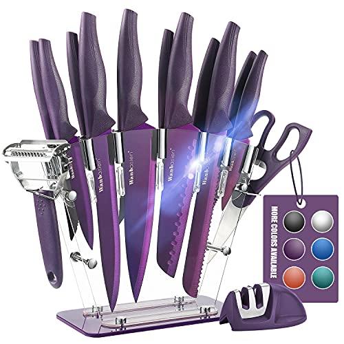 Wanbasion Purple 16 Pieces Kitchen Knife Set Dishwasher Safe, Professional Chef Kitchen Knife Set, Kitchen Knife Set Stainless Steel with Knife Sharpener Peeler Scissors Acrylic Block