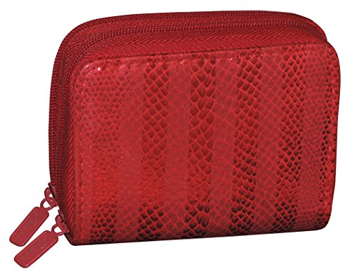 Buxton Womens RFID Accordion Double Zippered Wizard Credit Card ID Holder Travel Wallet (Red - Stripe)