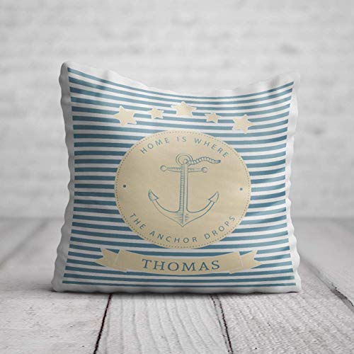 Boat Anchor Cushion - Personalised Boating Gift for Men Women - Nautical Birthday Gift - Yacht Pillow with Name 40 x 40cm / 16 x 16in