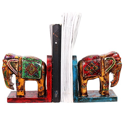 purpledip handgemalt Holz Elefant Form Buchstützen (10259)