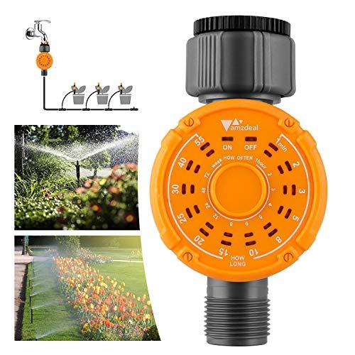 amzdeal Programador de Riego, Temporizador de Agua, Flujo máximo de Agua 35L / min, Temporizador de Riego Impermeable. Controlador Automático de Riego para Jardín, Césped, Planta de Invernadero
