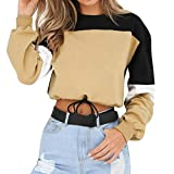 Covermason Sweat-Shirt Courte Femme Splcing Couleur T-Shirt Manches Longues Ado Fille Pull Chic Sweatshirt Pull Tops...