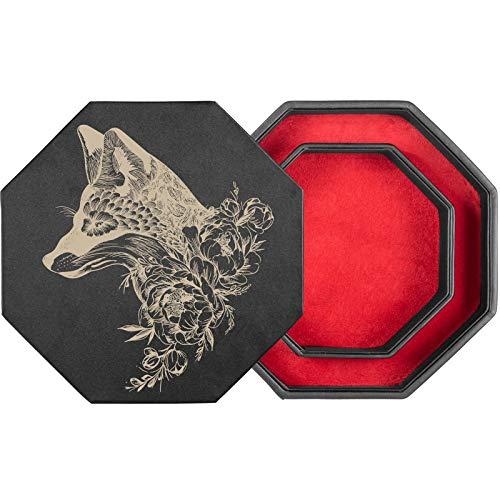 shibby 60017085 Würfelbrett mit Würfel-Ablage Deckel für alle Tabletop Spiele-23,5cm floral M1-1 (rot)