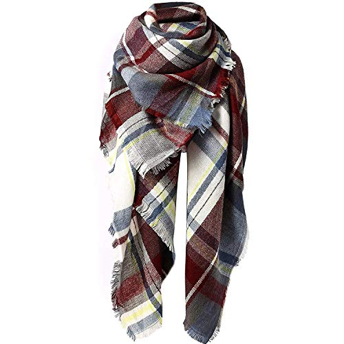 Zando Plaid Blanket Thick Winter Scarf Lightweight Scarfs for Women Fashion Scarfs Tartan Blanket Chunky Wrap Oversized Shawl Cape Fuchsia Blanket Scarf