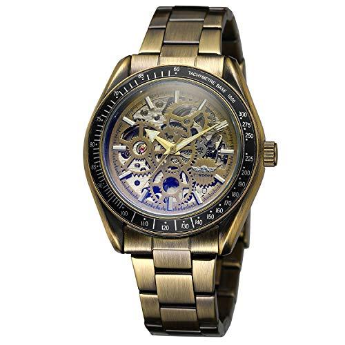 Forsining Men's Antique Skeleton Dial Automatic Luxury - Reloj de pulsera de acero inoxidable