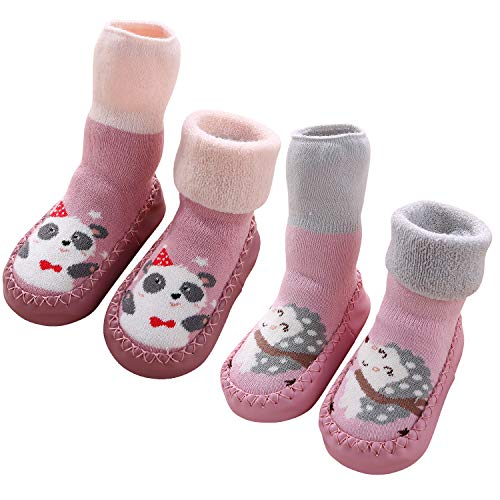 Adorel Baby Hüttenschuhe Gefüttert Socken Anti-Rutsch 2 Paar Igel & Panda 24 (Herstellergröße 16)