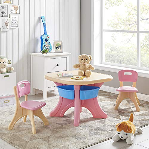 Barton Activity Children Table and 2-Chair Set Table with Detachable Storage Bins (Pink/Beige)